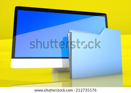 A modern all in one computer with a data folder. 3D Illustration.
