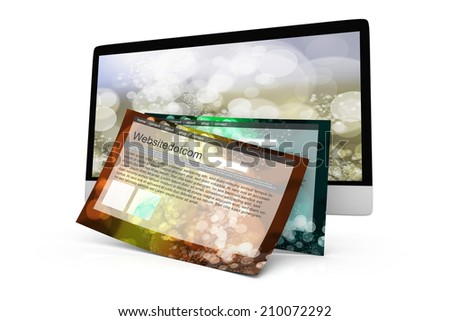 A modern All in one computer with a generic website coming out of the screen. 3D Illustration. Isolated on white.