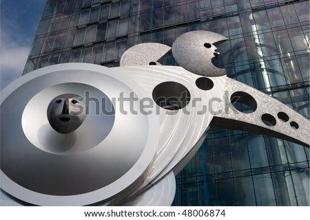 A modern art sculpture in front of the station in Lessingstrasse, Heidelberg (Germany) - stock photo