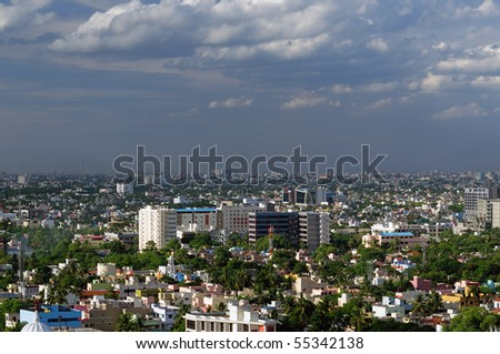 A modern Asian city very densely populated - stock photo