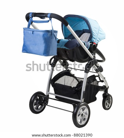 A modern baby-buggy isolated against a white background - stock photo