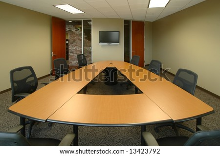 A modern board room in a new office