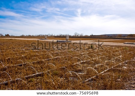 A modern constructed wetlands wastewater treatment plant - stock photo