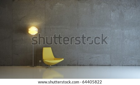 a modern 3d interior composition - stock photo