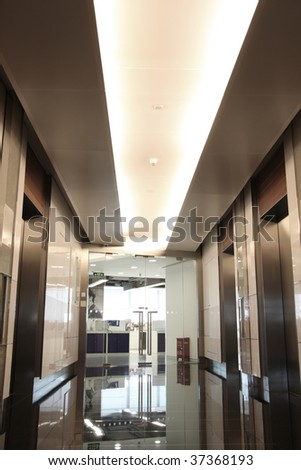 A modern lobby for an ultra-modern company. - stock photo