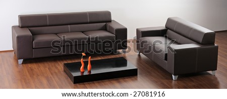 A modern minimalist living room with black furniture - stock photo