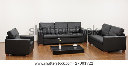 A modern minimalist living-room with black furniture - stock photo