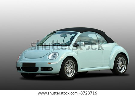 A modern model of a beetle car over gradient background - stock photo