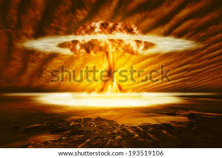 A modern nuclear bomb explosion in the wilderness - stock photo
