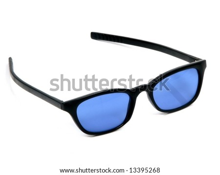 A modern pair of sunglasses with blue glass and black frame - stock photo