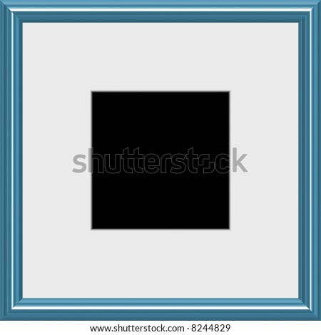 A modern silver frame with matted white space, complete with clipping paths.
