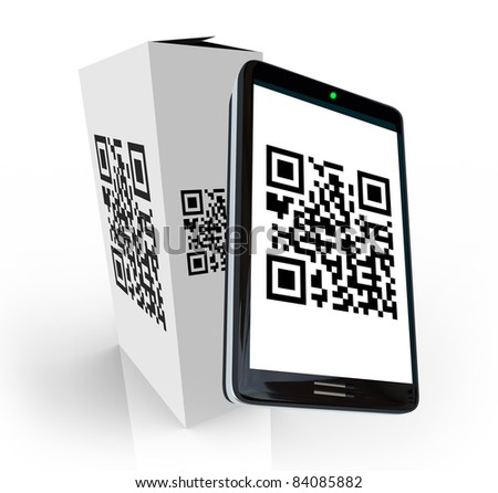 A modern smart phone scans the QR code on a product box to research information to decide whether to purchase or buy the item in a store - stock photo