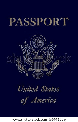 A modern style US passport with emblem