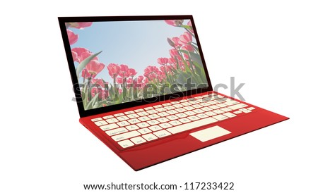 A modern ultra thin laptop in red, isolated on white.  Note to reviewer: photo on computer screen is made by designer.