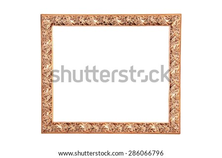 A modern wood frame carved olive leafs and painted with gold - stock photo