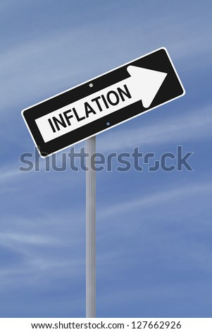 A modified one way sign implying increasing inflation (against a blue sky background) - stock photo