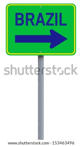A modified one way sign indicating Rio de Janeiro