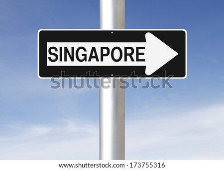 A modified one way sign indicating Singapore