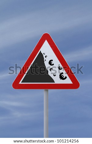 A modified road sign implying the fall or devaluation of the euro currency. Applicable for business or financial concepts. - stock photo