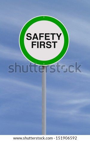 A modified road sign on safety  - stock photo