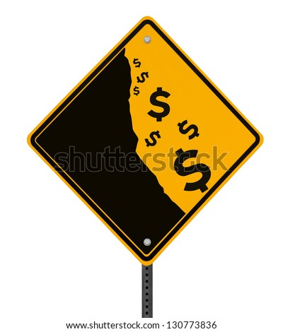 A modified road sign on the dollar currency falling off a cliff (isolated with clipping path) - stock photo
