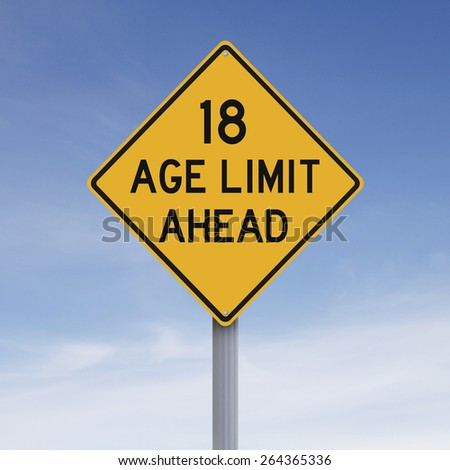 A modified speed limit sign indicating an age limit of eighteen  - stock photo
