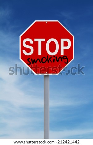 A modified stop sign against smoking