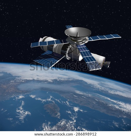 A modified version of Skylab - satellite laboratory for scientific experiments, orbiting over Italy - 3D Scene. Elements of this illustration furnished by NASA. - stock photo