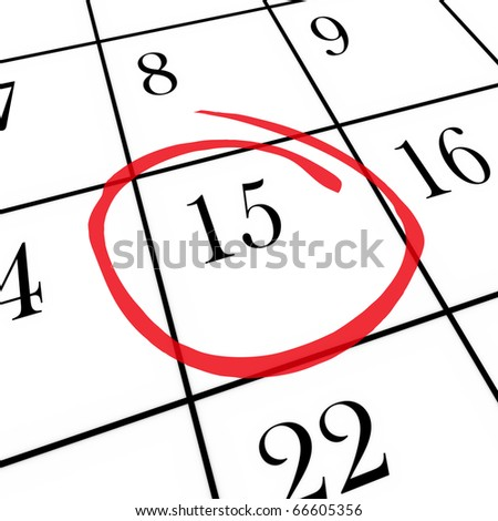 A monthly calendar on a white board with the 15th day circled with red marker - stock photo