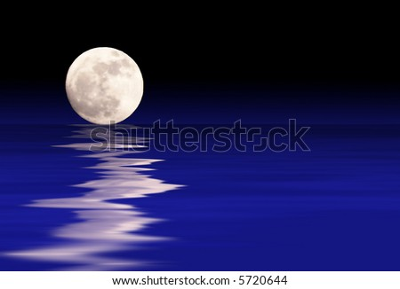 A moonscape rising from blue waters.