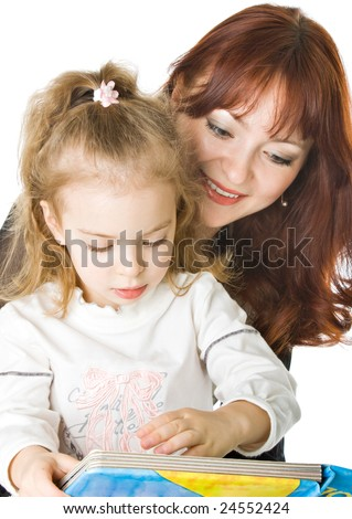 A mother and a daughter reading a book. Isolated on white background - stock photo