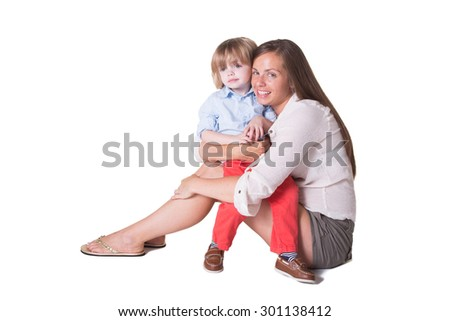 A mother and her preschool toddler, isolated - stock photo