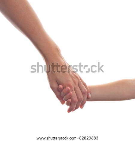 A Mother giving a hand to her child isolated on white Background - stock photo