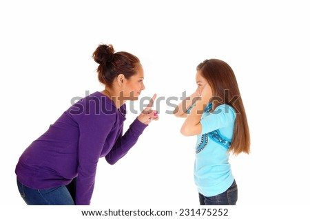 A mother is disciplining her young daughter and the girl holding her ears closed, isolated for white background.  - stock photo