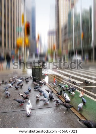 A motion blurred image of street life at manhattan early morning - stock photo