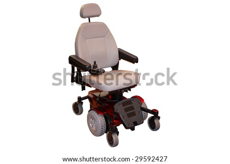 A Motorised Wheelchair for a Disabled Person. - stock photo