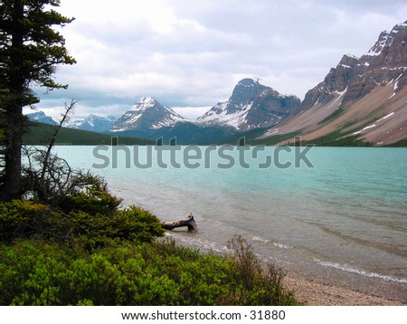 A mountain lake in Canada. - stock photo
