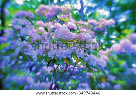 A mountain laurel shrub in full bloom in Spring, transformed into a colorful pointillism style painting. Mountain Laurel is the state flower of Pennsylvania.