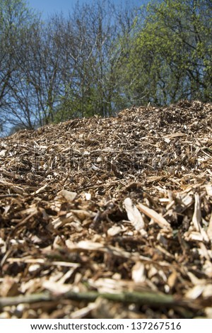 A mountain of wood chip in portrait - stock photo