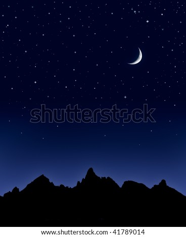 A mountain range silhouetted by a star-filled night sky and quarter moon. - stock photo