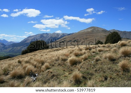 A Mountain View near Cass, New Zealand - stock photo