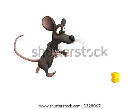 a mouse races towards the perfect prize, isolated background - stock photo
