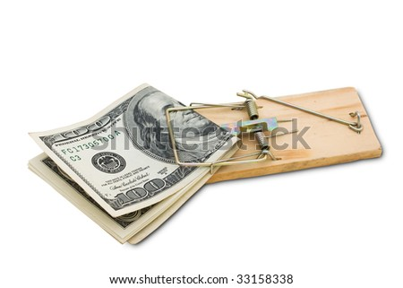 A mouse trap with one hundred dollar bills isolated on a white background with clipping path, taking risks with your money