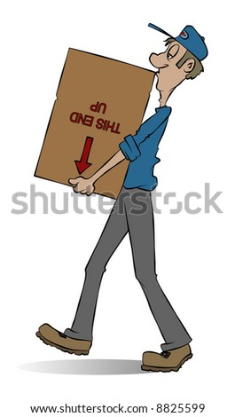 A mover carrying a box. He doesn't seem to care what's in the box. - stock photo