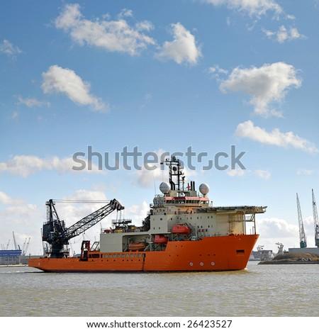 a multi-purpose offshore support vessel - stock photo