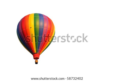 A multicolored hot air balloon isolated on white - stock photo