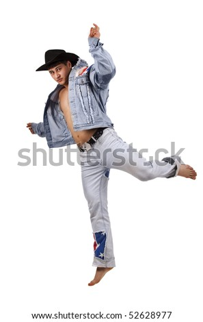 A muscular man in a cowboy hat jumping over white background.