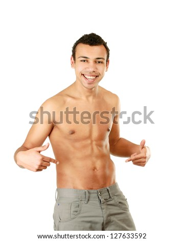 A muscular man showing his abs, isolated on white background