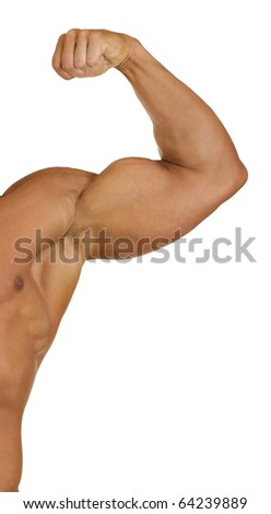 A muscular mans arm and shoulder flexing