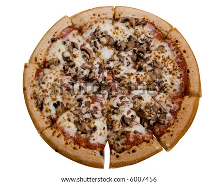 A mushroom pizza isolated on white.